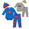 Marca Romper Conjunto Forma Dos Desenhos Animados Roupa De Bebe Bodysuit + Chapéu + Calça 3 pcs Set Bebê Roupas Menino Superman Batman Roupa Do Bebê Recém-nascido