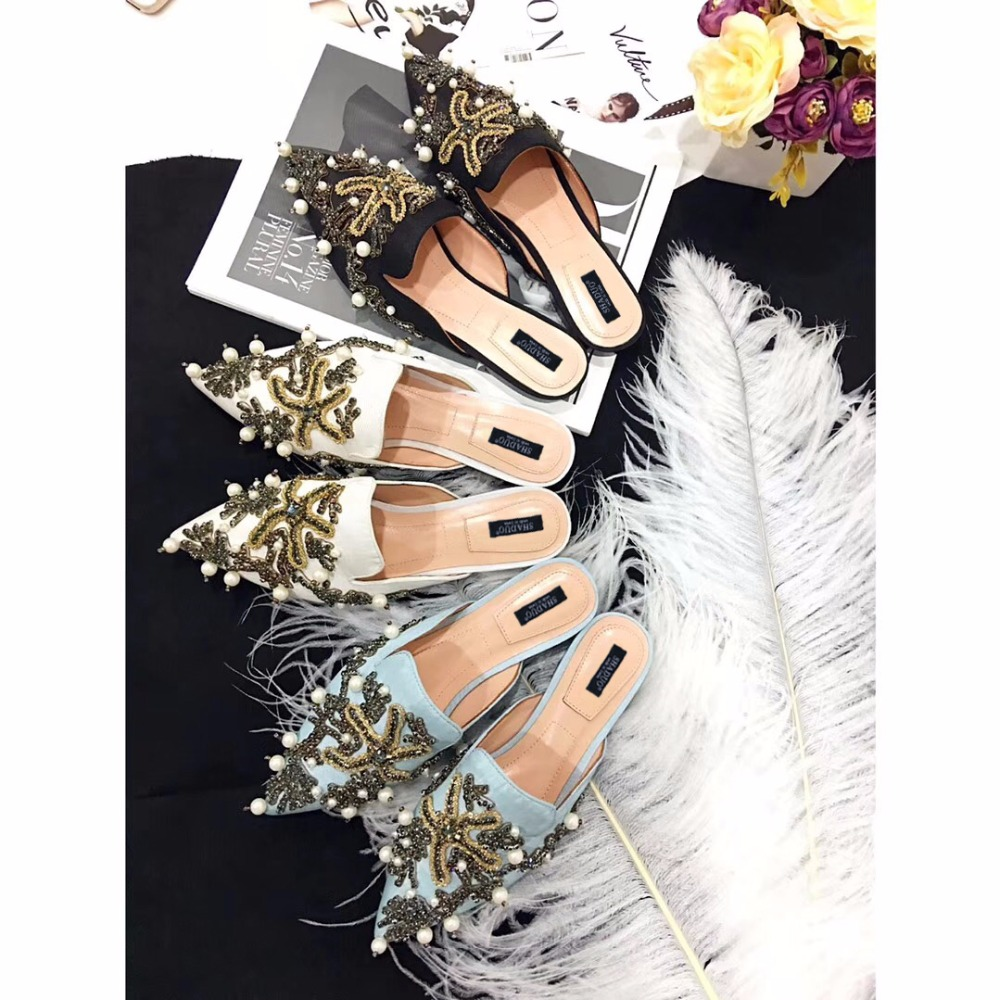 2018 shaduo Hot Spring Summer Women Slippers Black Pointed Toe Embroidery Pearl Women Slippers Outdoor Casual Flats shoes Women cresfimix women cute spring summer slip on flat shoes with pearl female casual street flats lady fashion pointed toe shoes