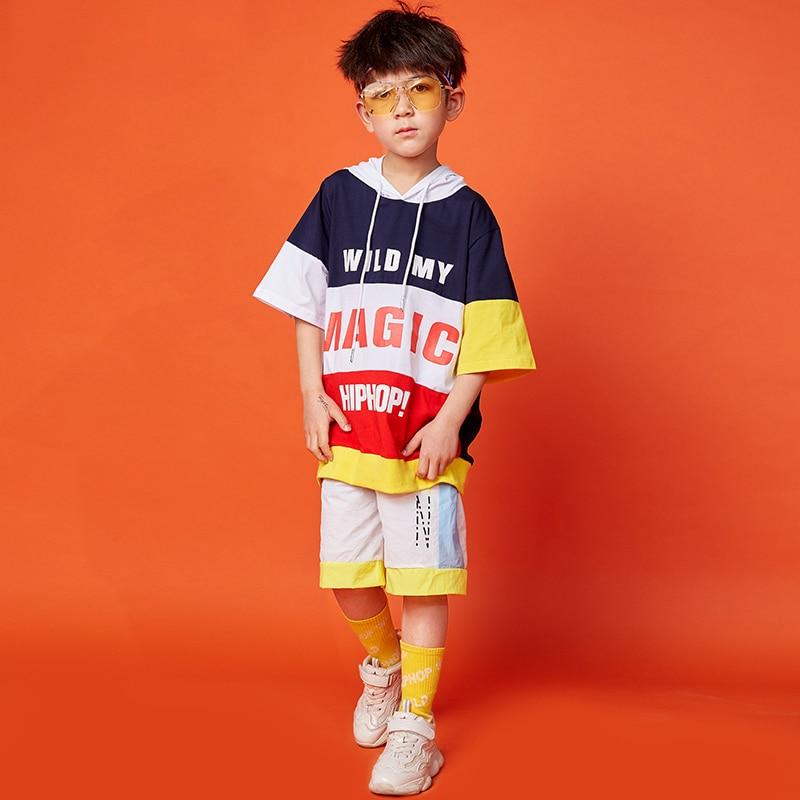 New Hip Hop Costumes Kids Street Clothes Boys Hip-Hop Dance Costume Performance Dance Wear Dance Short Sleeve Shorts KidsDQS1513