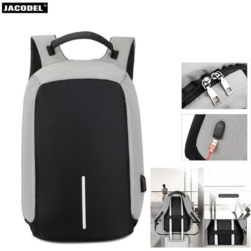 все цены на Jacodel Waterproof Men laptop Backpack 15.6 inch bag USB Backpack Women Travel for Man Anti Theft Backpack for Notebook 15.6 Bag онлайн