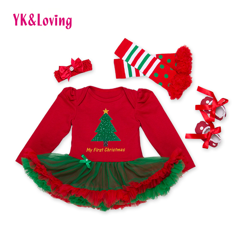 d65d12af9735 XMAS Festival Baby Dress Cotton Baby Romper Dress with Tree Print Girls  Ruffle Dress Set Clothes for Girl Princess Party Dress-in Dresses from  Mother & Kids