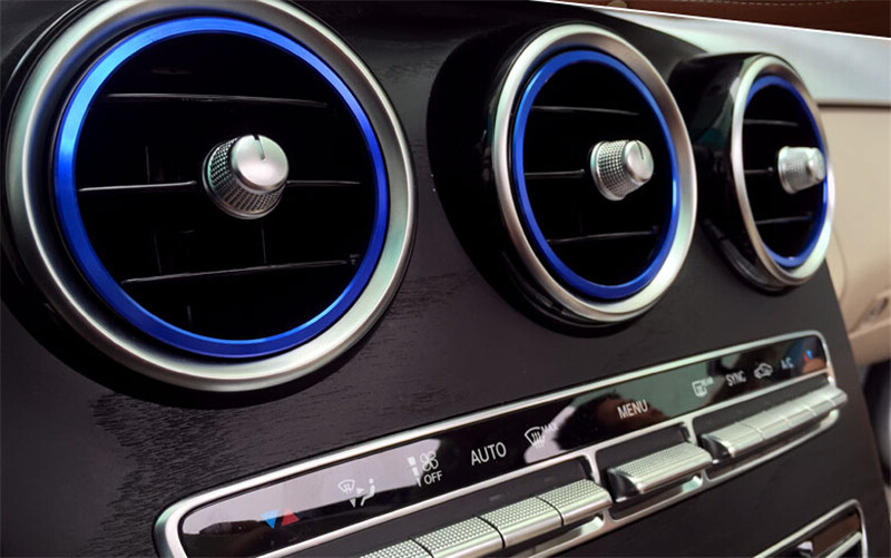 7pcs Blue Interior Air Vent Outlet Ring Cover Trim Sticker for <font><b>Mercedes</b></font> Benz C Class 2015 W205 C180 C200 C250 <font><b>C300</b></font> & GLC <font><b>2016</b></font> image