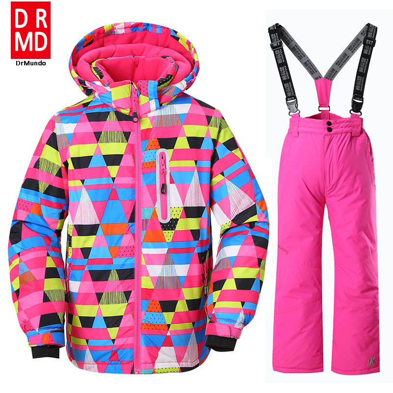 Winter Outdoor Children Clothing Set Windproof Ski Jackets + Pants Kids Snow Sets Warm Skiing Suit For  Girls phibee free shipping winter outdoor children set windproof ski jackets pants kids snow sets warm waterproof skiing suit for boys