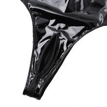 Sexy Patent Leather Bodysuit One Piece Swimsuit Women Sleeveless Fishnet Bust Monokini Halter Neck Zipper Open Crotch Leotard