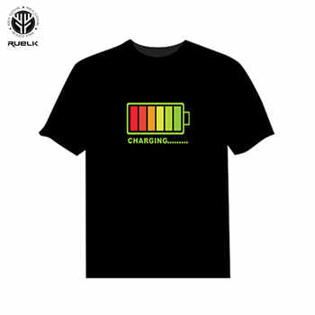 RUELK Men Sound Activated LED T-shirt Light Up Down Flashing T-shirts for Rock Disco Party DJ Tops Tee T Shirt Men Equalize - DISCOUNT ITEM  52% OFF All Category