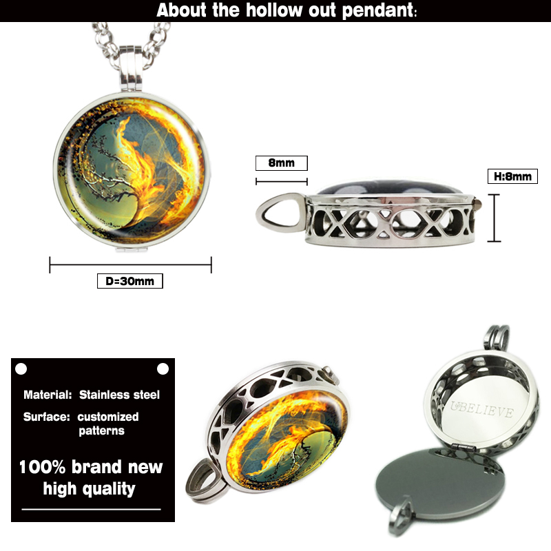 Tree Photo Picture Hollow Out Locket Pendant Silver Essential Oil Locket/Aromatherapy Diffuser Locket Necklace With Felt Pads