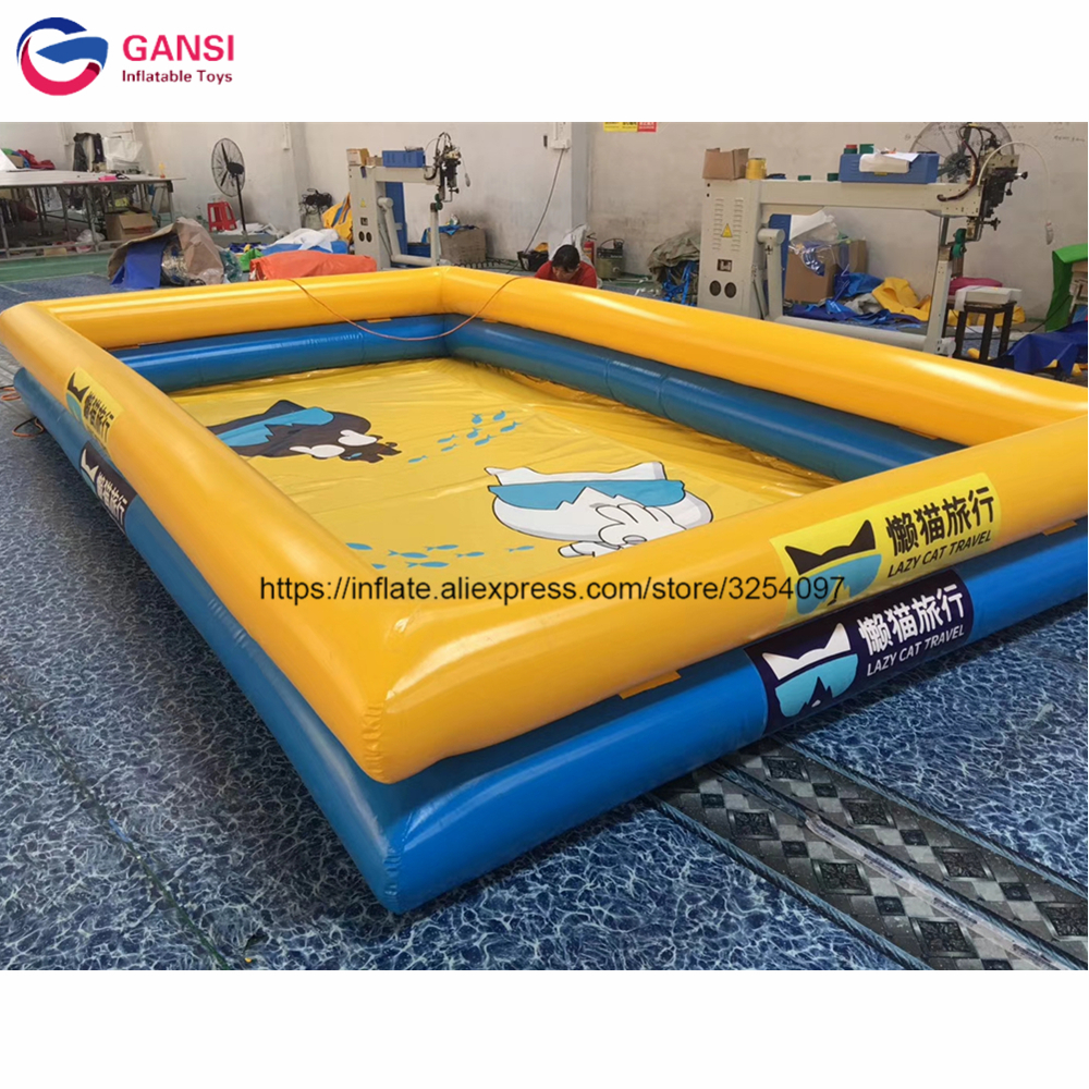 Outdoor adult inflatable swimming pool for sale 8*8*1.2m double tubes PVC tarpaulin square inflatable swimming pool for summer