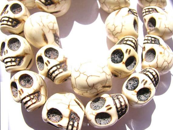 En vrac turquoise pierre gemme squelette crâne assortiment bijoux perles 13x18mm 5 brins 16 pouces/par - 2