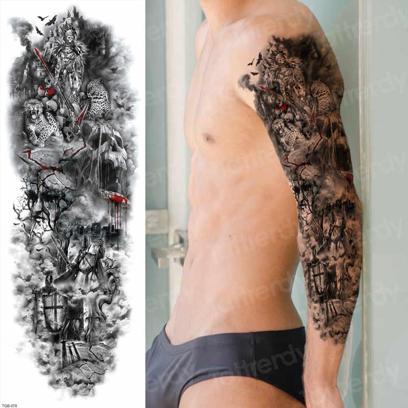 Stiker Bikini Sementara Tato Sehelai Kain Di Atas Air Transfer Tato Lengan Panjang Tato Palsu Penutup Bekas Luka Tubuh Seni Tato Besar Besar
