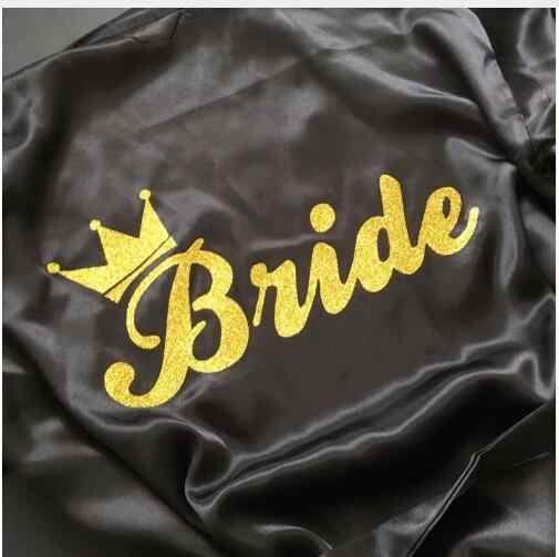 Невеста буквы Корона золотой блеск печать кимоно халаты из искусственного шелка для Для женщин для мальчиков и девочек с надписью Preparewear Бесплатная доставка