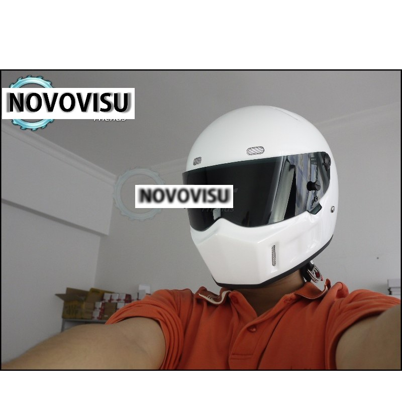 Здесь можно купить  NOVOVISU The Stig 1 Helmet Capacete Casco De 2002 2003 White Colour With Black Visor For 1 / 2 Season Kart / Car / Motorcycle  Автомобили и Мотоциклы