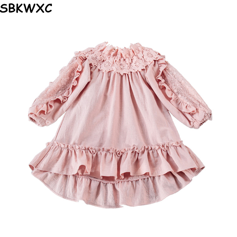 Girl Dress Autumn Flowers Lace Shoulderless Lantern Sleeve Kids Dresses For Girls Party Princess Birthday Children Vestidos 3-7T fashion 2016 new autumn girls dress cartoon kids dresses long sleeve princess girl clothes for 2 7y children party striped dress
