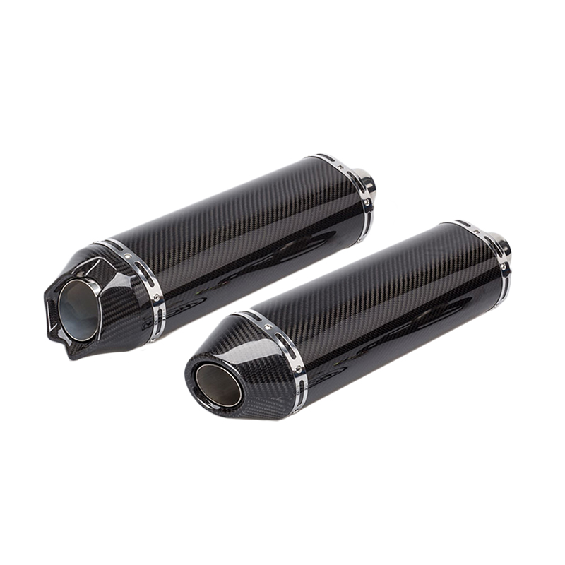 51mm Universal Carbon Fiber Motorcycle Exhaust Pipe With Carbon Fiber Holder Clamp Moto Muffler Pipe Racing Escape