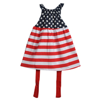 Conice Baby 4th July Girls Clothes Summer Dress Star Red Striped With Belt Toddler Girls Dress