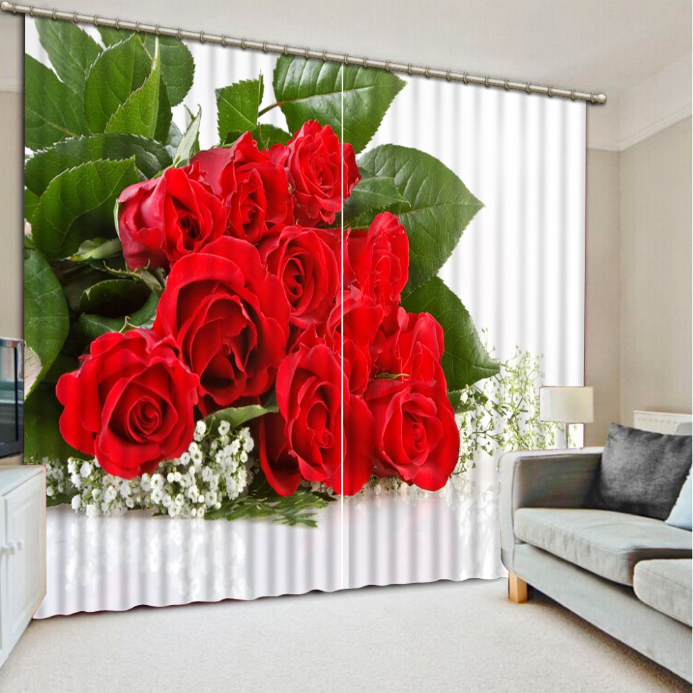 Chinese luxury rose curtains blackout 3d window curtains custom sheer curtains for living room curtainsChinese luxury rose curtains blackout 3d window curtains custom sheer curtains for living room curtains