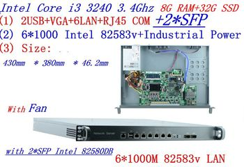 8G RAM 32G SSD 1U Router firewall server with 6*1000M 82583V Gigabit with 2*SFP InteL I3 3240 3.4Ghz support ROS RouterOS etc