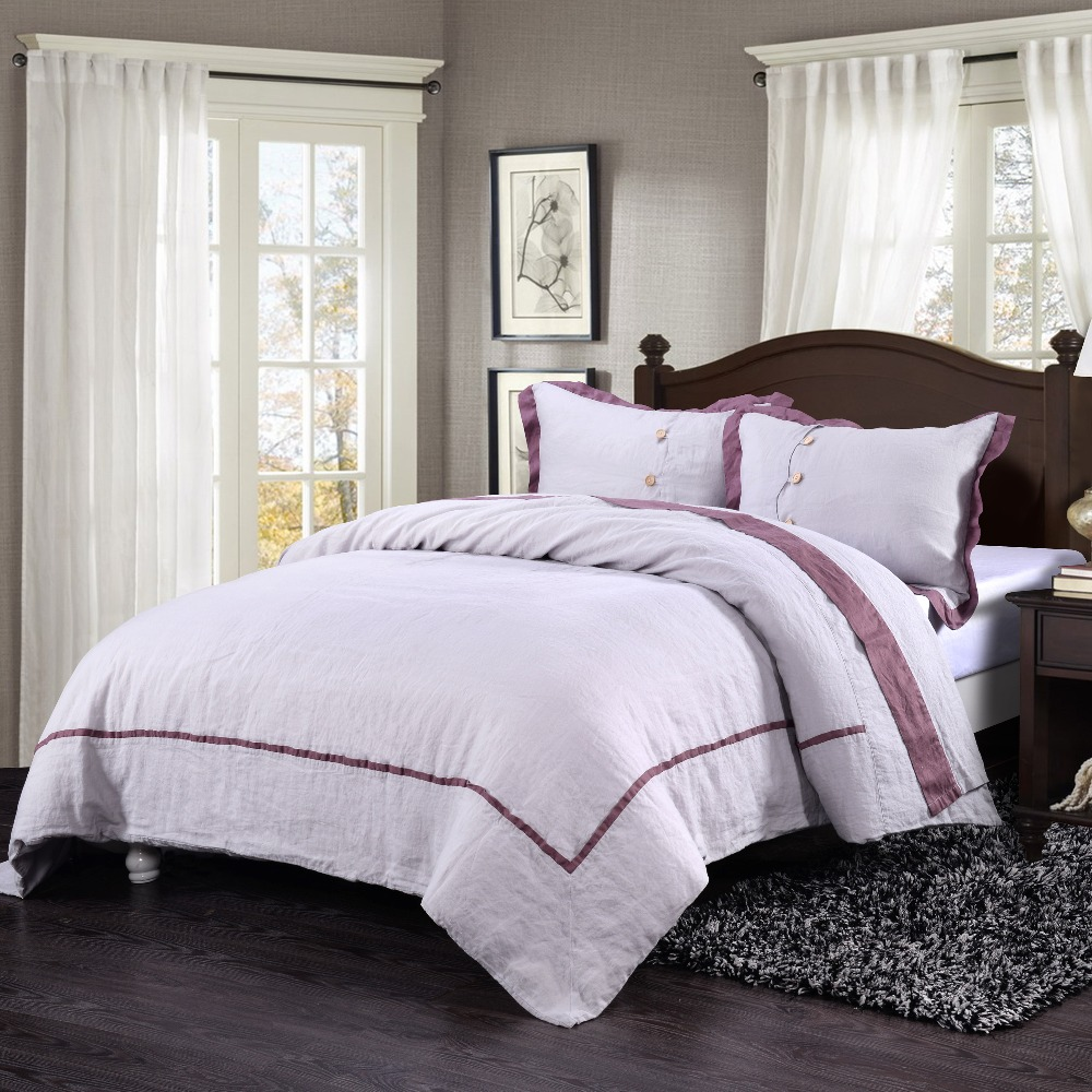 100 Washed Linen Inlay Purple Stripe Grey Bedding Set
