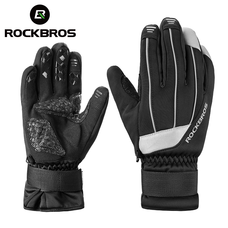 ROCKBROS Winter Warm Fleece Ski Gloves Waterproof Touch Screen Heated Snowboard Gloves Snowmobile Motorcycle Riding Gloves