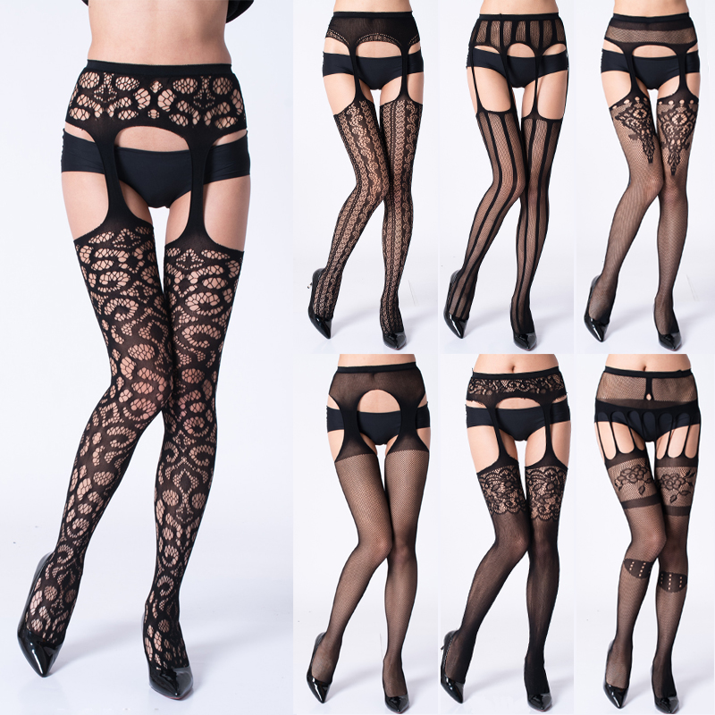 HSS Women Sexy Stockings Lingerie Stripe Lace Elastic Transparent Black Hollow Out Tights Thigh Sheer Embroidery Pantyhose