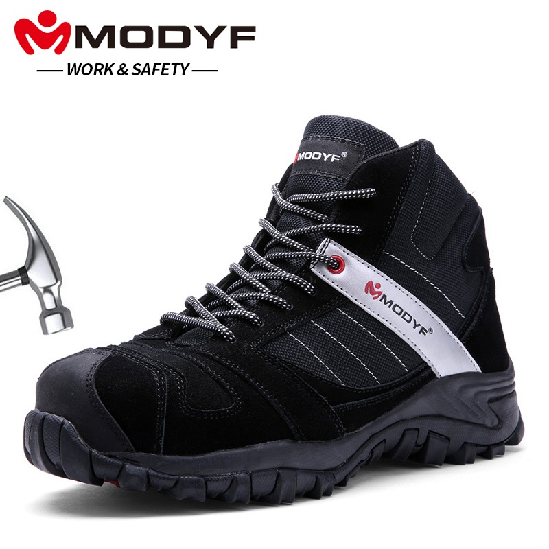MODYF Men Steel Toe Cap Work Safety Shoes Outdoor Ankle Boots Fashion Puncture Proof Footwear