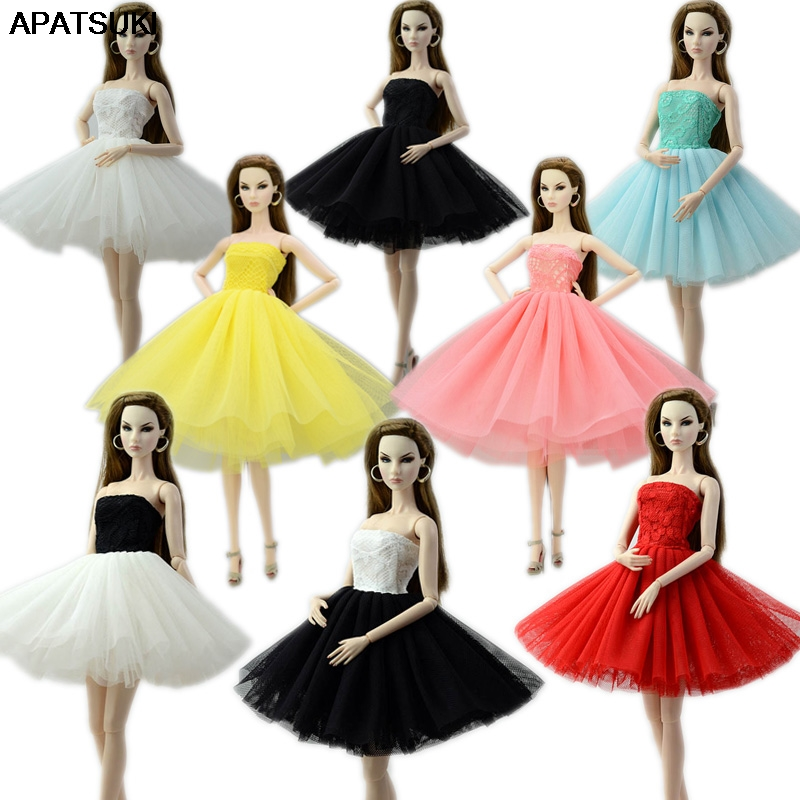 8pcs/lot Fashion Doll Clothes Short Ballet Dress For Barbie Doll Outfits Clothes For Barbie Doll 1/6 BJD Doll Accessories