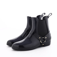 New Rubber Boots for Women PVC Ankle Rain Boots Waterproof Trendy Jelly Women Boot Elastic Band Rainy Shoes Woman Rainy Days