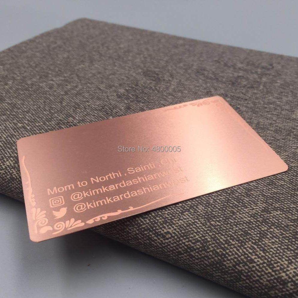 Купить с кэшбэком 304 Steel plated rose gold color metal business card etched logo and words