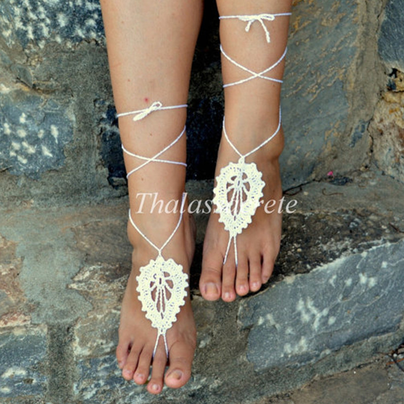 White Barefoot Sandals Leaf Design Crochet Sexy