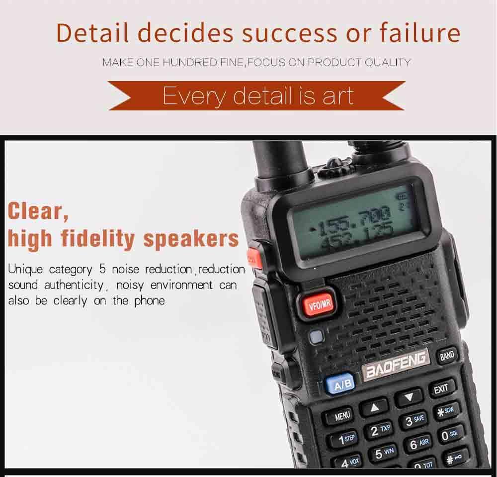 2Pcs BaoFeng UV-5R Walkie Talkie VHFUHF136-174Mhz&400-520Mhz Dual Band Two way radio Baofeng uv 5r Portable Walkie talkie uv5r (14)