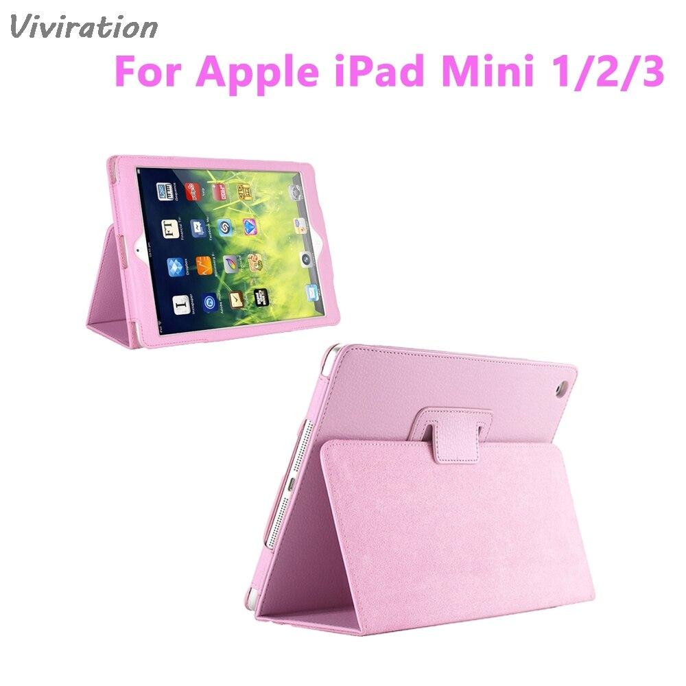 Viviration New Smart Mini 7.9 Inch Tablet Hard Cover Case For Apple iPad Mini 1 2 3 Funda Fold PU Leather Holder Magnetic Shell