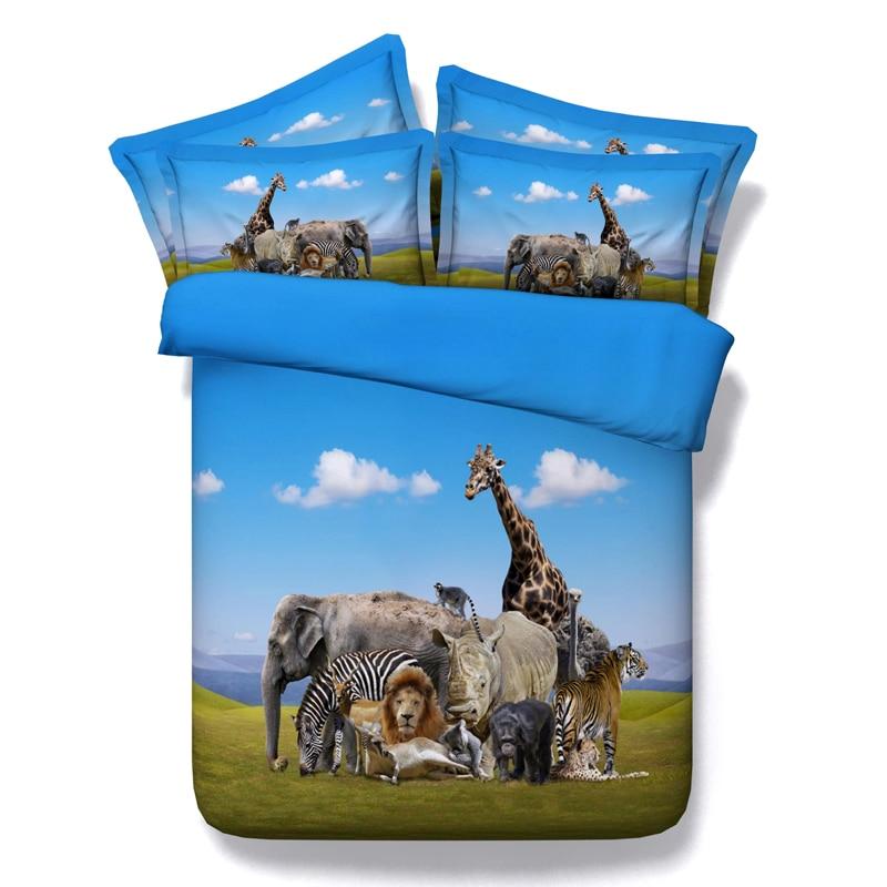 5 pz matrimoniale/pieno/regina/re/super king size 100% cotone 3d animal giraffe owl unicorno biancheria da letto di cane insieme con ripieno di trasporto libero - 2