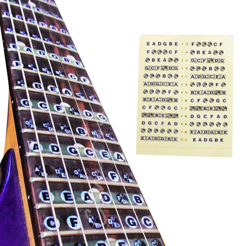 Guitarra fretboard nota lable adesivos traste mapa decalques aprender fingerboard pescoço nota beaut