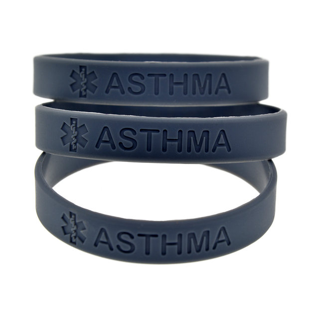 Onebandahouse 50pcs Lot Medical Alert Bracelet For Emergency Case Asthma Silicone Wristband