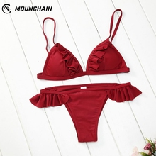Solid Women Sexy Bikinis Set Low Waist Flounce Edge Fashion Beach Dress Push Up Bathwear flounce swim dress set