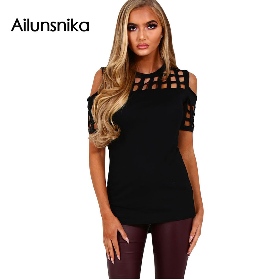 Ailunsnika 2018 New Women Fashion Short Sleeve Hollow Out Pink Black Red Cage Cutout Cold Shoulder Top Casual Shirt DL250008