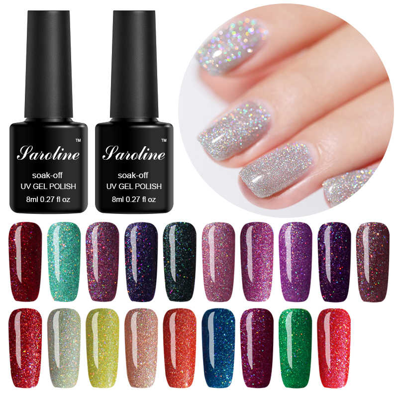 Saroline 19Color UV Neon Glitter Rainbow Gel polski 8ML SemiPermanent Shining emalia Nail Art Soak Off żel hybrydowy Vernish polski