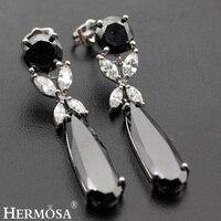 Hermosa Biżuteria Grzywny Unikalne Moda Onyx 925 Sterling Silver Dangle Kobiety Kolczyki BK013
