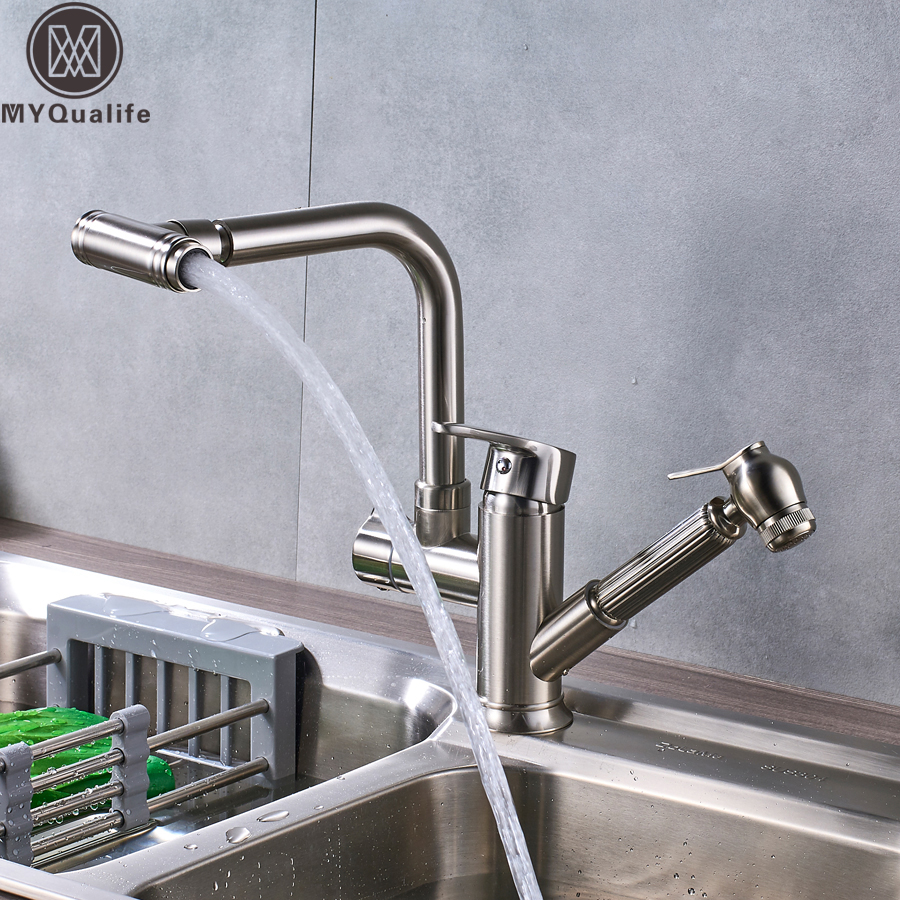 Brushed Nickel Kitchen Faucets Brass with Two Spouts Pull Out Spray Hot and Cold Water Kitchen Sink Mixer Tap Single Handle 360 pull out kitchen faucets brushed nickel sink mixer tap 360 degree rotatable torneira cozinha mixer taps
