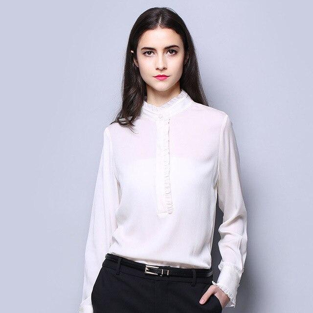 3a75e83fe 100% SIlk Crepe Women Shirt Pure Natural Silk Fabric New Arrival Office  Lady Women Long Sleeve Plain Style Fashion Shirts