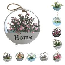 1Pc Artificial Flower Iron Pot Bonsai Wall Hanging Party Home Living Room Decor