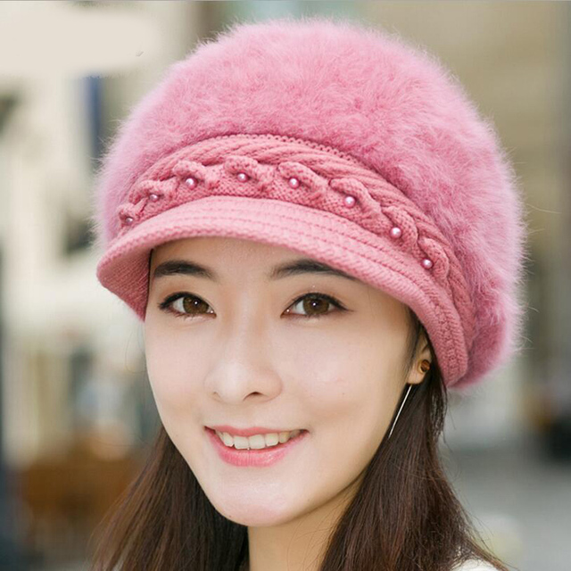 a56fa9ed2fe0 Elegant Women s Winter Rabbit Fur Hat Female Fall Knitted Hats for Woman  Cap Autumn Ladies Fashion