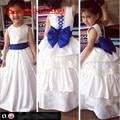 Atacado Flor Branca Vestidos Da Menina Barbie Bolos vestido de Baile Em Camadas Saia 2016 Azul Royal Bow Satin Pageant Crianças Vestido de Festa