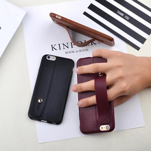 PU Leather protector cover silicone Back Phone Case Hand Grip Strap stand phone accessories for apple iPhone 5s 6 6S/7/8 Plus X цена в Москве и Питере