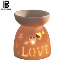 30ml Creative Ceramic Hollow Heart Shape Aroma Burner Oil Lamp Candle Aromatherapy Furnace Stove Burner Essential Oil Aroma Lamp