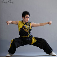 Kung fu clothes traditional wushu clothing Chinese dragon costume kung fu uniforms sleeveless man kung shaolin uniform Q110