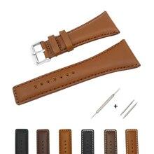 YQI 34 ミリメートルビッグサイズ時計バンド大幅ふくらはぎ本革時計バンド黒茶色の腕時計