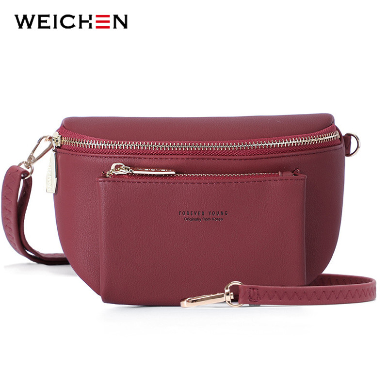 WEICHEN NEW Multi functiona Women Fanny Pack Ladies Messenger Shoulder Chest Bag Female Fashion PU Leather Waist Bag Women