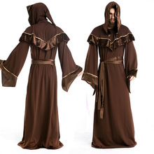 цена Men's Halloween Costume Gothic Witch Gown European Religious Priests Male Cosplay Role-playing Clothes with Belt онлайн в 2017 году