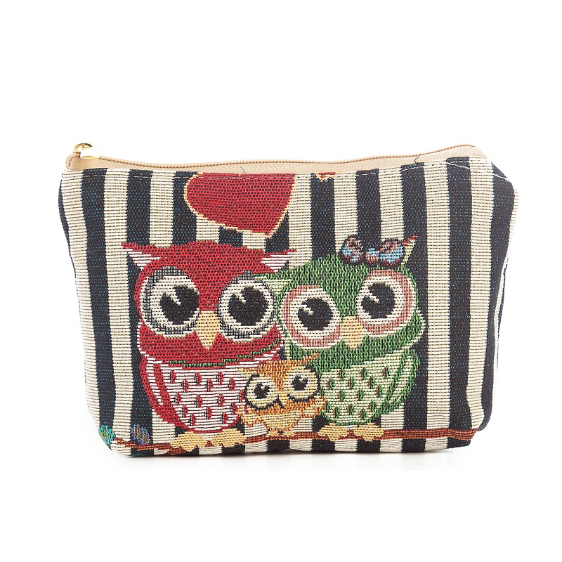Miyahouse Canvas Cosmetic Bag Women Make UP Bag Small Travel Beauty Organizer Pouch For Female Cartoon Owl Printed Makeup Pouch