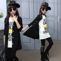 Дети девушки одежда наборы осень-подросток девушки спортивный костюм школа детская одежда спортивный костюм длинное пальто Леггинсы 3 шт. девочек одежда